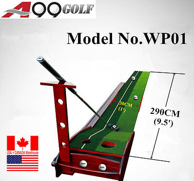 WP01 9 1/2' Putting Mat with Return Track Wood Base