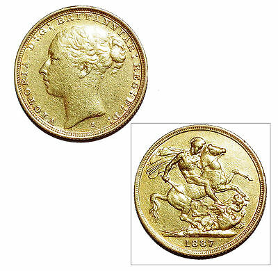 Pre-Owned 1887 Full Sovereign 22ct Gold Coin. Queen Victoria Young Head