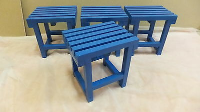 Set de 4 STOOLS de wood, lacquered in BLUE, 32 cms. de height
