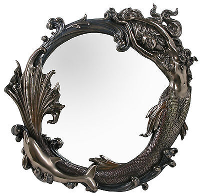 Veronese Bronze Figurine Art Nouveau Mermaid Wall Mirror Large Gift Home Decor