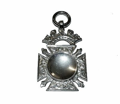 Antique Fully Hallmarked Sterling Silver Concave Fob Pendant (Birm 1907)
