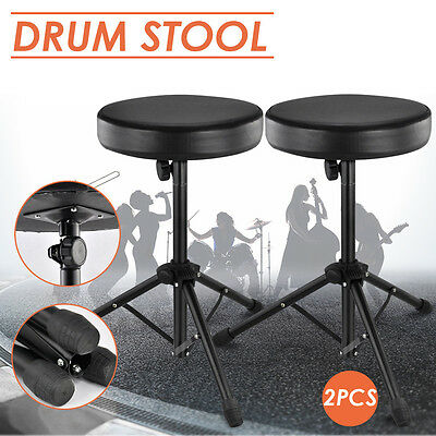 2X Drum Stool Music Piano Chair Throne Drummer Adjustable Padded Seat Heavy Duty