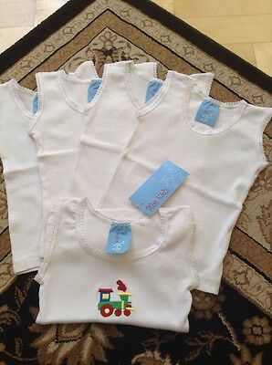NWT White Baby Singlets X 5 (1 Train Embroidered 4 Plain) Size 00