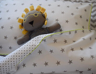 100%COTTON Cot Bed Duvet Cover Set Grey Stars  Dots  lime piping Boys Girls