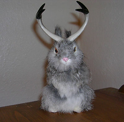 Realistic Lifelike Jackalope Sitting Rabbit Fur Furry Animal R1800GY