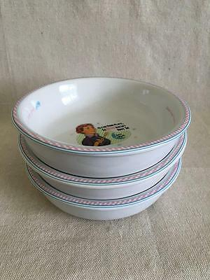 """Set of 3 - 7"""" """"Always Fresh Mom's Kitchen Cereal Bowls Made in China"""