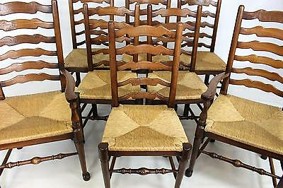 Set of 8 Rush Seated Rustic Farmhouse Oak Ladderback Dining Chairs