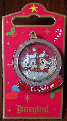 Disney Pin DLR Holiday Snowglobe Chip and Dale Le1000