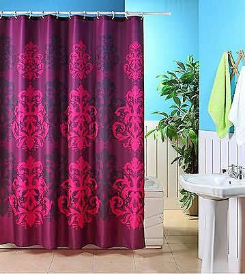 Jacquard Plum Washable Polyester Funky Shower Curtain Purple 180 X 180Cm