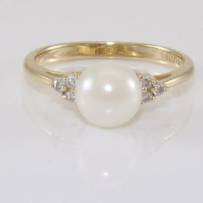 14K Yellow Gold Pearl Natural Diamond Ring Size 6.75 QZ