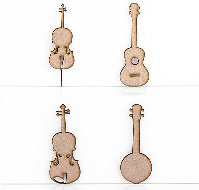 Wooden MDF Musical Instruments Craft Shapes Decoration 3mm Thick Tags Blank