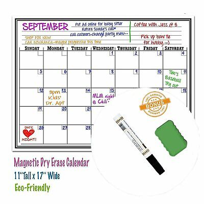 "17"" x 11"" Monthly Dry Erase Magnetic Refrigerator Calendar Message White Board"