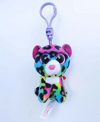 "3.5"" TY Beanie Boos Dotty The Leopard Plush Stuffed Toy Clip Key Chain kc120"