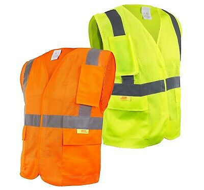 Class 2 High Visibility Safety Vest with Reflective Strips and Pockets-M8511/12