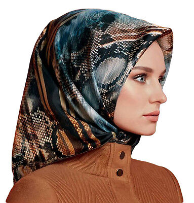 Turkish Armine Silk Hijab Scarf Fall 2016 - Winter 2017 #7559 Blue/Brown/Black