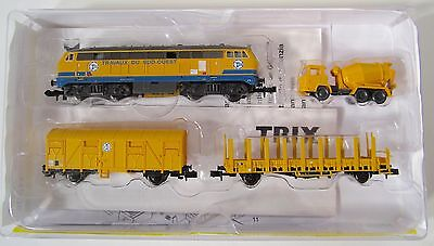 Minitrix 11606 TSO Construction Train Diesel + 2 Cars Tested NIB Trix Märklin