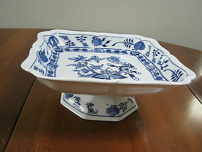Antique Blue Onion Plate with Pedastal