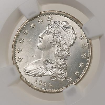 1834 O/F Capped Bust 25C B-1 NGC Certified MS 65 Premium Quality Silver Quarter