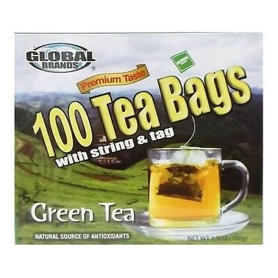 100 Premium Taste Green Tea Bags With String & Tag Natural source Antioxidants
