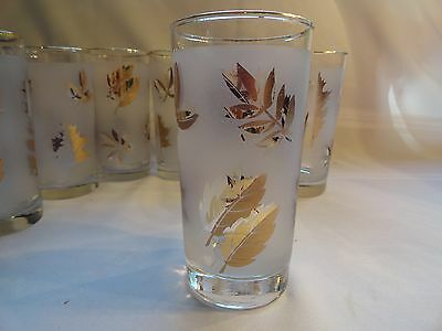 """VINTAGE 1950's LIBBEY'S """"TOM COLLINS"""" GLASSES WITH GOLD LEAVES"""