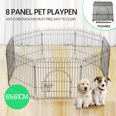 "24"" 8 Panel Pet Playpen Portable Exercise Cage Fence Dog Puppy Rabbit Enclosure"