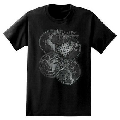 Game Of Thrones FOUR HOUSES IN CIRCLES T-Shirt NWT Licensed & Official S-3XL