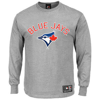 Toronto Blue Jays Majestic MLB Fanatic Long Sleeve T-Shirt - Grey