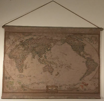 Vintage Style Hanging Linen World Map/Neutral Antique Look Wall Art 114x82cm