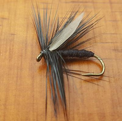Dry Trout Fly Grey winged black mayfly 5 pcs fishing lures Free Shipping size 10
