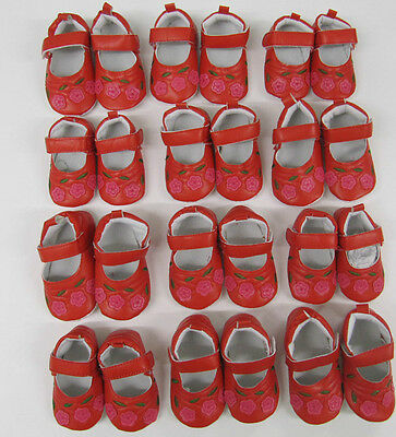 Baby Shoes girls red pram shoes  job lot 12 pairs small pram shoes wholesale