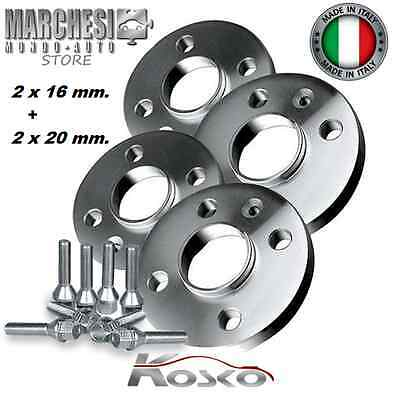 KIT 4 DISTANZIALI RUOTE 16+20 mm. FIAT 500 ABARTH 2008-> INCLUSO BULLONI