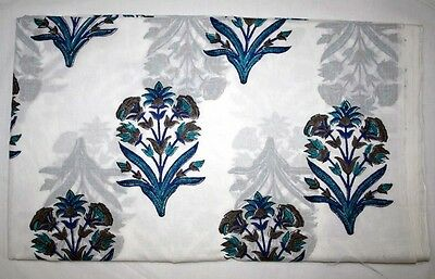 10 Yard Indian Natural Hand Block Flower Fabric Handmade Cotton Vegetable Dye
