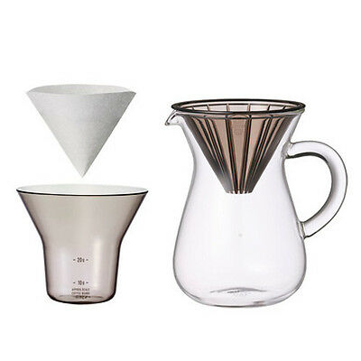 """300 ml (2 Cups) Carafe Coffee Set with 20 Filters by Kinto for """"Slow"""" Coffee"""