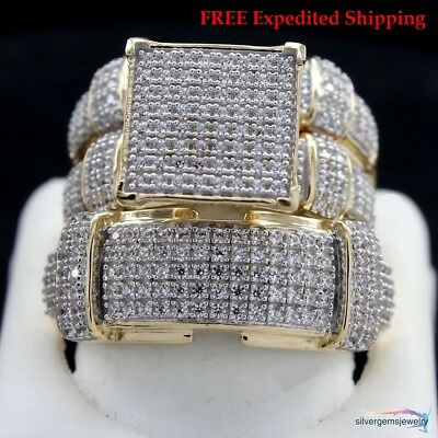 10K Yellow Gold Over His Her Diamond Engagement Bridal Wedding Trio Ring Set