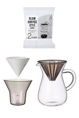 """300 ml (2 Cups) Carafe Coffee Set with 80 Filters by Kinto for """"Slow"""" Coffee"""