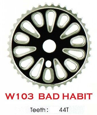 "W103 BMX ""BAD HABIT""  44 TOOTH BMX FRONT CHAINWHEEL / CHAINRING, for 1/2"" chain"