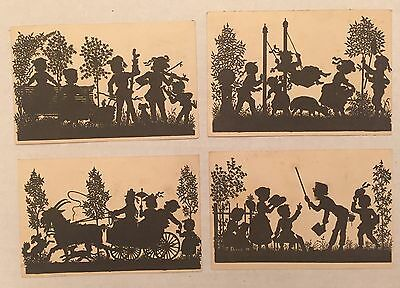 Victorian Vintage Paper Ephemera Silhouettes Of Family Children Playing Lot