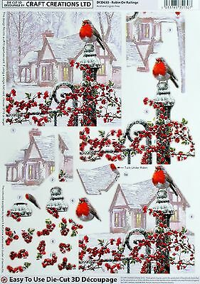 A4 Die Cut 3D Paper Tole Decoupage Christmas Robin On Railings Sheet Dcd630