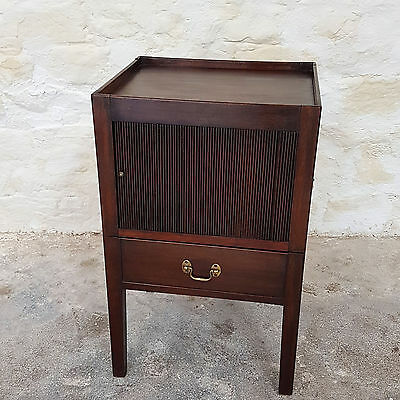 George III Mahogany Tambour Bedside Cabinet / Commode C1800 (Georgian Antique)