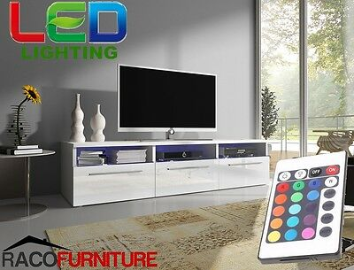 TV Unit Stand Cabinet No2 White body, High Gloss Fronts + LED Remote Control