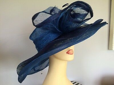Ladies Formal Occasion Wedding Races Hat Navy & Turquoise By Suzanne Bettley