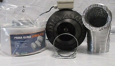 Prima Klima Carbon Filter Duct Kit Tornado High Power Fan 2 Clips Hydroponics