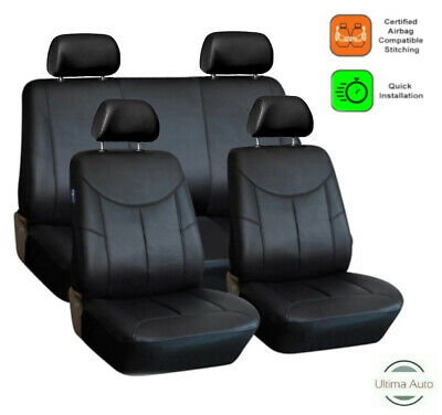 8 Pcs Full Set Black Leather Look Seat Covers For Skoda Fabia Octavia Roomster