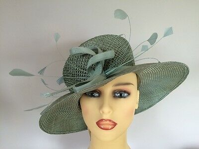 Ladies Formal Occasion Wedding Races Hat Mother NEW Muted Green By Emma B