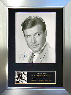 SIR ROGER MOORE James Bond Signed Autograph Mounted Repro Photo A4 Print no274