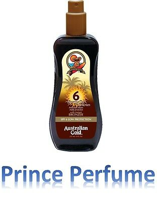 AUSTRALIAN GOLD SPF 6 LOW PROTECTION SPRAY GEL SUNSCREEN WITH BRONZER - 237 ml