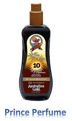 AUSTRALIAN GOLD SPF 10 LOW PROTECTION SPRAY GEL SUNSCREEN WITH BRONZER - 237 ml