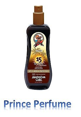 AUSTRALIAN GOLD SPF 15 MEDIUM PROTECTION SPRAY GEL SUNSCREEN WITH BRONZER -237ml