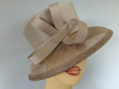 Ladies Occasion Formal Wedding Races Mother Bride Hat Pale Gold TaupeLined Debut