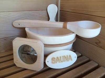 Sauna Accessory Set, Aspen Bucket, Dipper, Thermometer & Sign.  Great for gift!